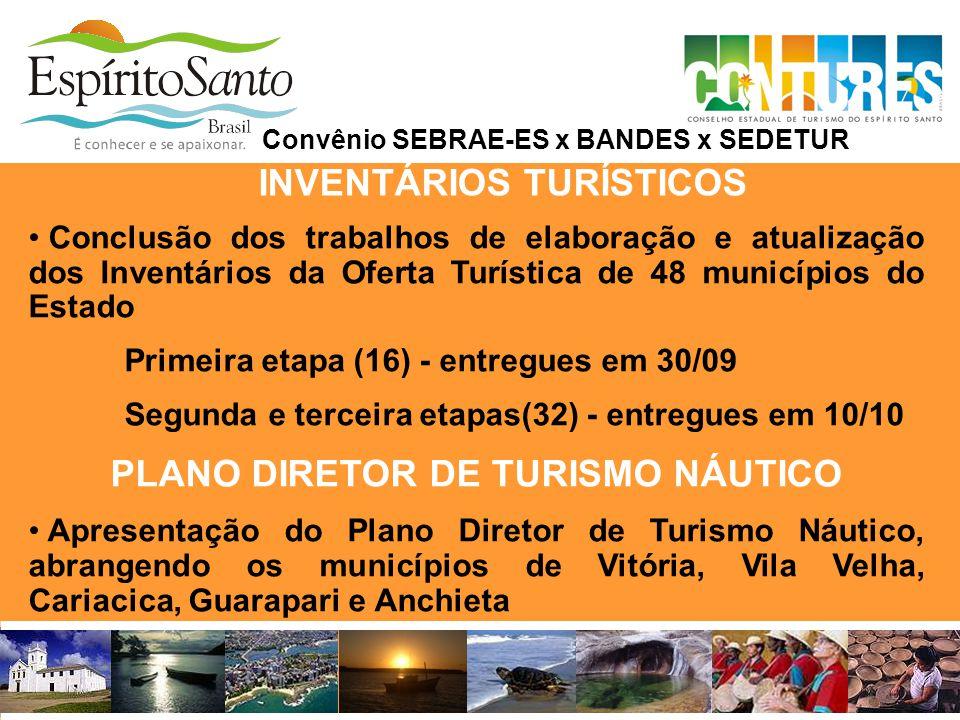 INVENTÁRIOS TURÍSTICOS • Conclusão dos trabalhos de elaboração e atualização dos Inventários da Oferta Turística de 48 municípios do Estado Primeira e