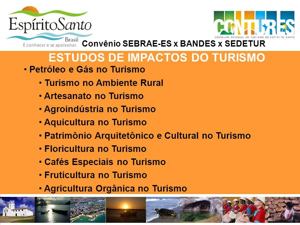 ESTUDOS DE IMPACTOS DO TURISMO Convênio SEBRAE-ES x BANDES x SEDETUR • Petróleo e Gás no Turismo • Turismo no Ambiente Rural • Artesanato no Turismo •