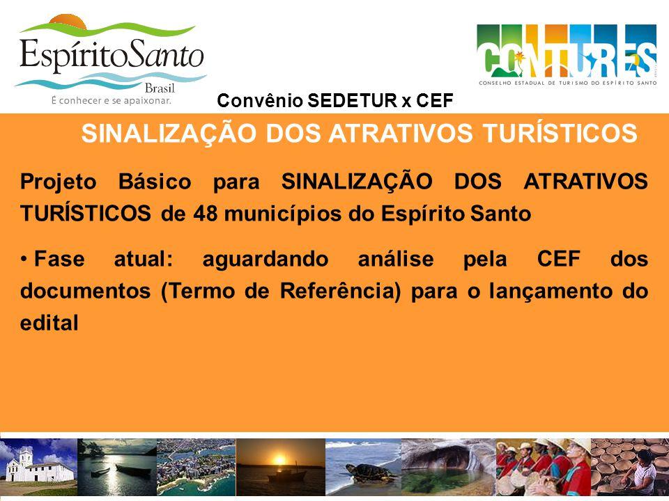 SINALIZAÇÃO DOS ATRATIVOS TURÍSTICOS Convênio SEDETUR x CEF Projeto Básico para SINALIZAÇÃO DOS ATRATIVOS TURÍSTICOS de 48 municípios do Espírito Sant