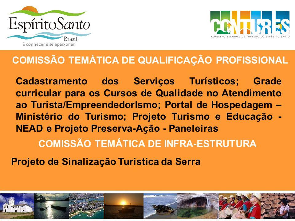 COMISSÃO TEMÁTICA DE INFRA-ESTRUTURA Projeto de Sinalização Turística da Serra COMISSÃO TEMÁTICA DE QUALIFICAÇÃO PROFISSIONAL Cadastramento dos Serviç