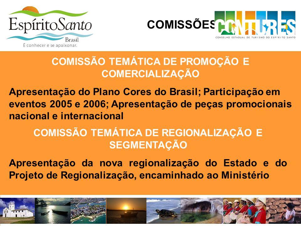 COMISSÕES TEMÁTICAS COMISSÃO TEMÁTICA DE REGIONALIZAÇÃO E SEGMENTAÇÃO Apresentação da nova regionalização do Estado e do Projeto de Regionalização, en