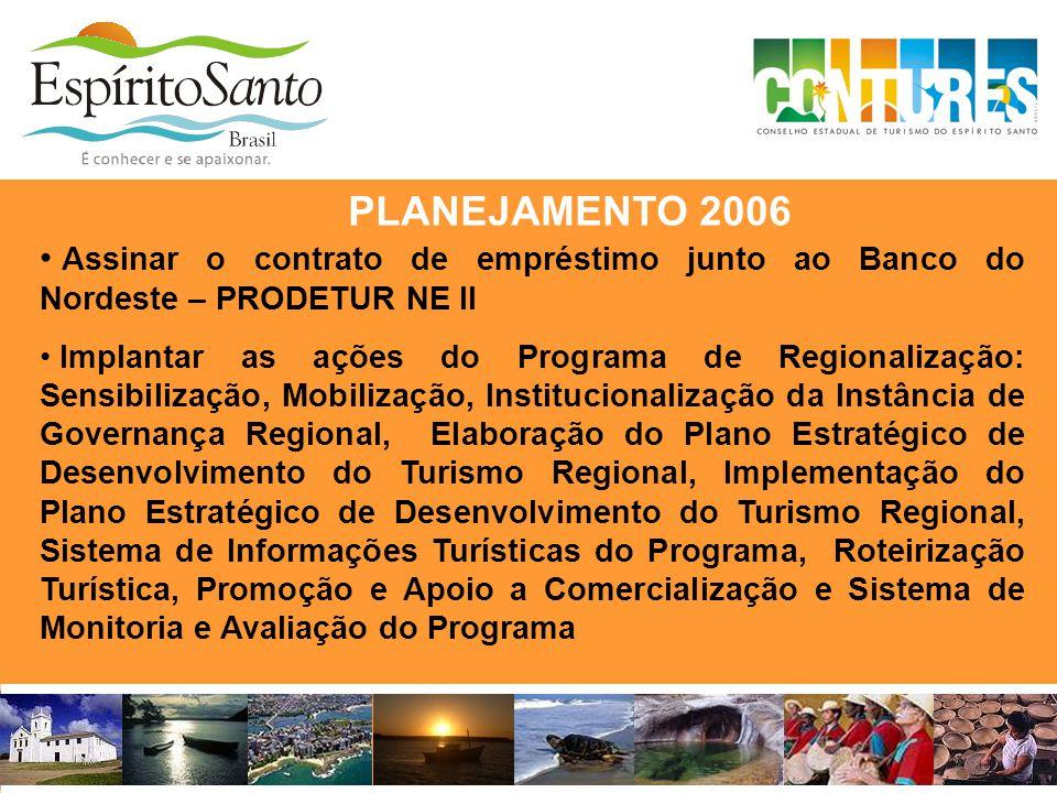 • Assinar o contrato de empréstimo junto ao Banco do Nordeste – PRODETUR NE II • Implantar as ações do Programa de Regionalização: Sensibilização, Mob