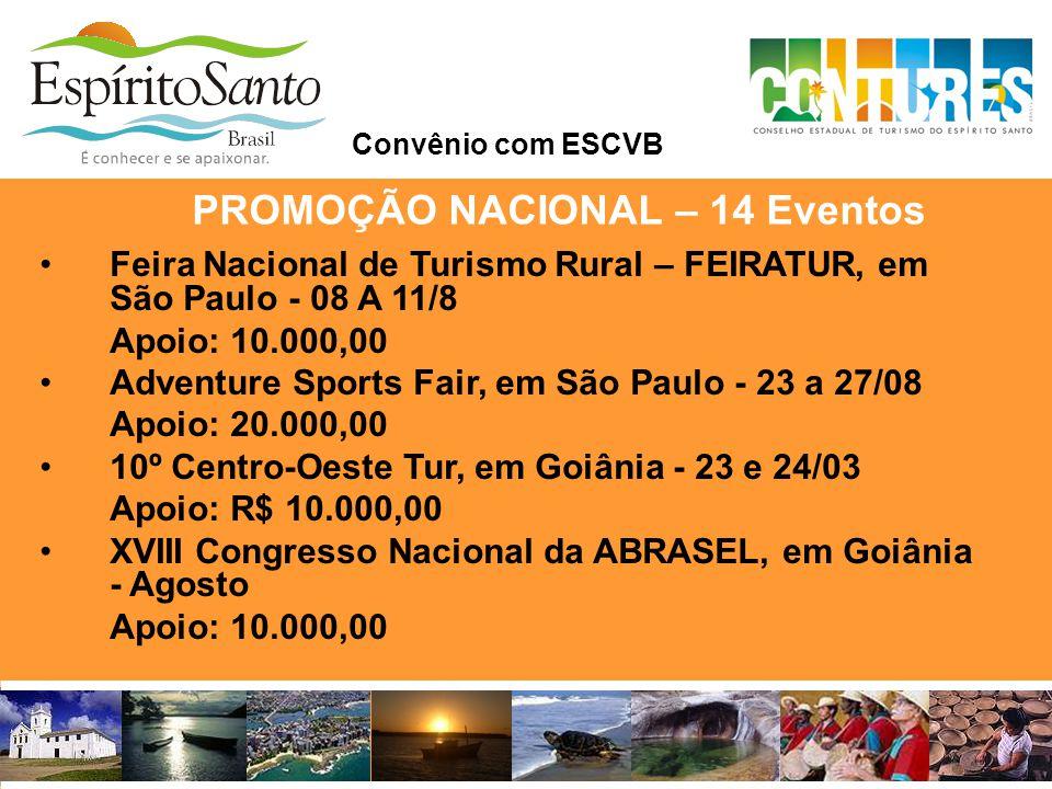 •Feira Nacional de Turismo Rural – FEIRATUR, em São Paulo - 08 A 11/8 Apoio: 10.000,00 •Adventure Sports Fair, em São Paulo - 23 a 27/08 Apoio: 20.000