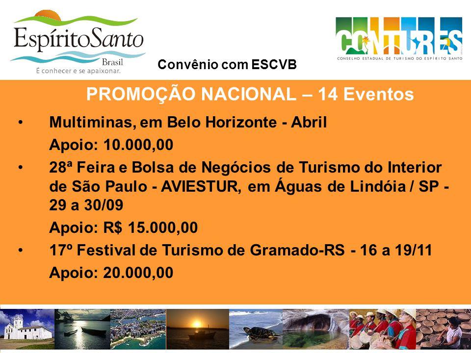 •Multiminas, em Belo Horizonte - Abril Apoio: 10.000,00 •28ª Feira e Bolsa de Negócios de Turismo do Interior de São Paulo - AVIESTUR, em Águas de Lin