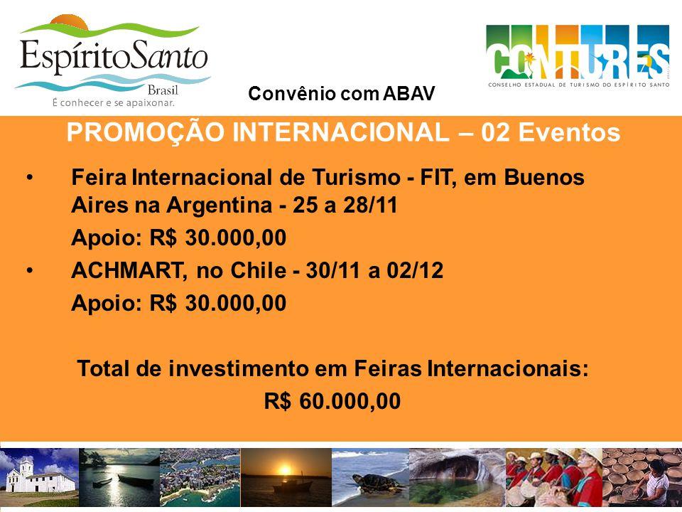 PROMOÇÃO INTERNACIONAL – 02 Eventos Convênio com ABAV •Feira Internacional de Turismo - FIT, em Buenos Aires na Argentina - 25 a 28/11 Apoio: R$ 30.00