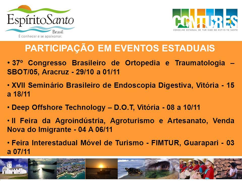 PARTICIPAÇÃO EM EVENTOS ESTADUAIS • 37º Congresso Brasileiro de Ortopedia e Traumatologia – SBOT/05, Aracruz - 29/10 a 01/11 • XVII Seminário Brasilei