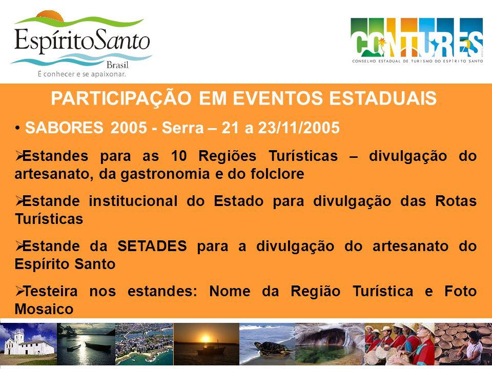 • SABORES 2005 - Serra – 21 a 23/11/2005  Estandes para as 10 Regiões Turísticas – divulgação do artesanato, da gastronomia e do folclore  Estande i