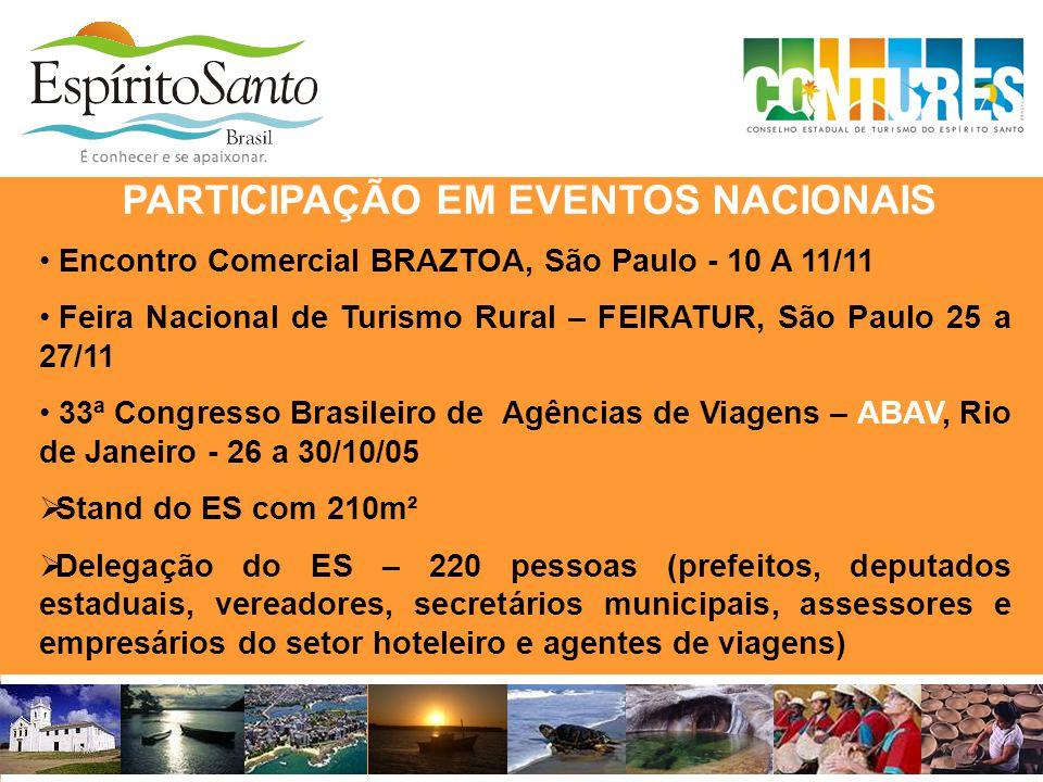 PARTICIPAÇÃO EM EVENTOS NACIONAIS • Encontro Comercial BRAZTOA, São Paulo - 10 A 11/11 • Feira Nacional de Turismo Rural – FEIRATUR, São Paulo 25 a 27
