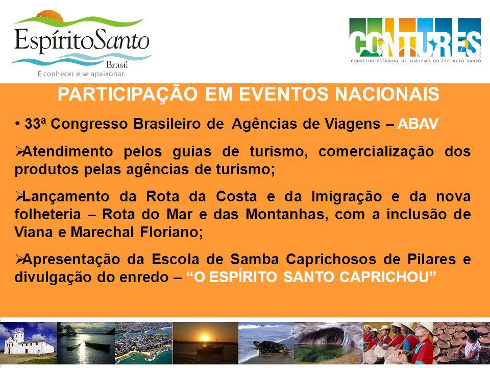 • 33ª Congresso Brasileiro de Agências de Viagens – ABAV  Atendimento pelos guias de turismo, comercialização dos produtos pelas agências de turismo;