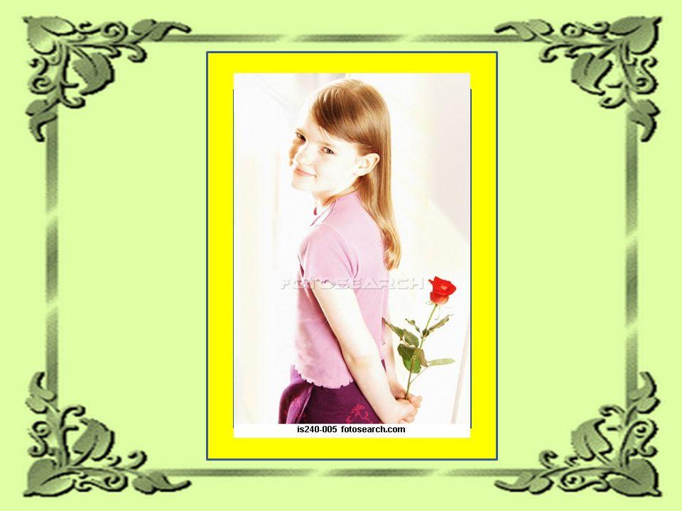 No caminho, uma garotinha lhe deu uma rosa... no ônibus, ele chateado joga a rosa fora.