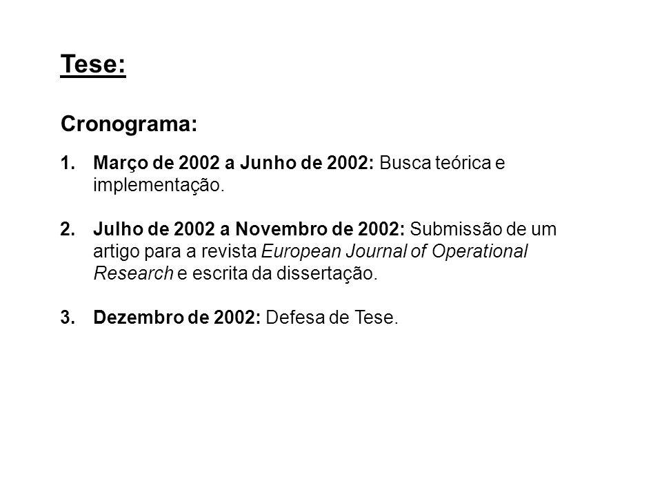 Tese: Cronograma: 1.Março de 2002 a Junho de 2002: Busca teórica e implementação. 2.Julho de 2002 a Novembro de 2002: Submissão de um artigo para a re