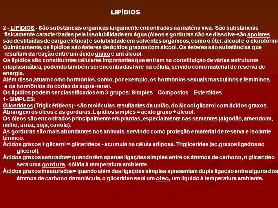 2 - LIPÍDIOS - São substâncias orgânicas largamente encontradas na matéria viva. São substâncias fisicamente caracterizadas pela insolubilidade em águ