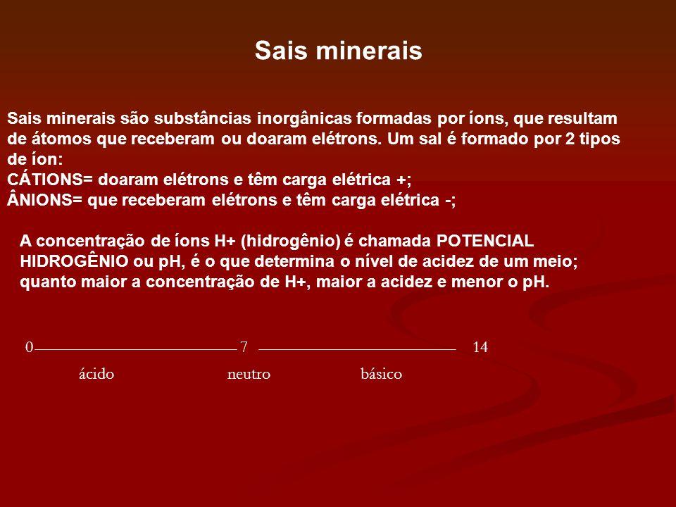 Sais minerais Sais minerais são substâncias inorgânicas formadas por íons, que resultam de átomos que receberam ou doaram elétrons. Um sal é formado p
