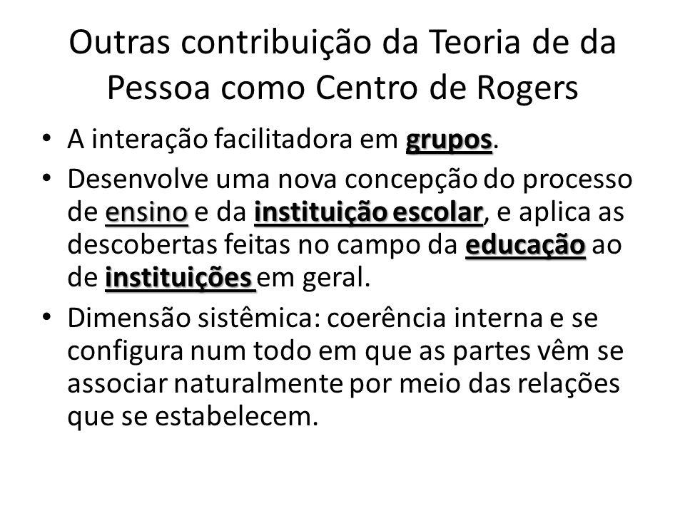 Outras contribuição da Teoria de da Pessoa como Centro de Rogers grupos • A interação facilitadora em grupos. ensinoinstituição escolar educação insti