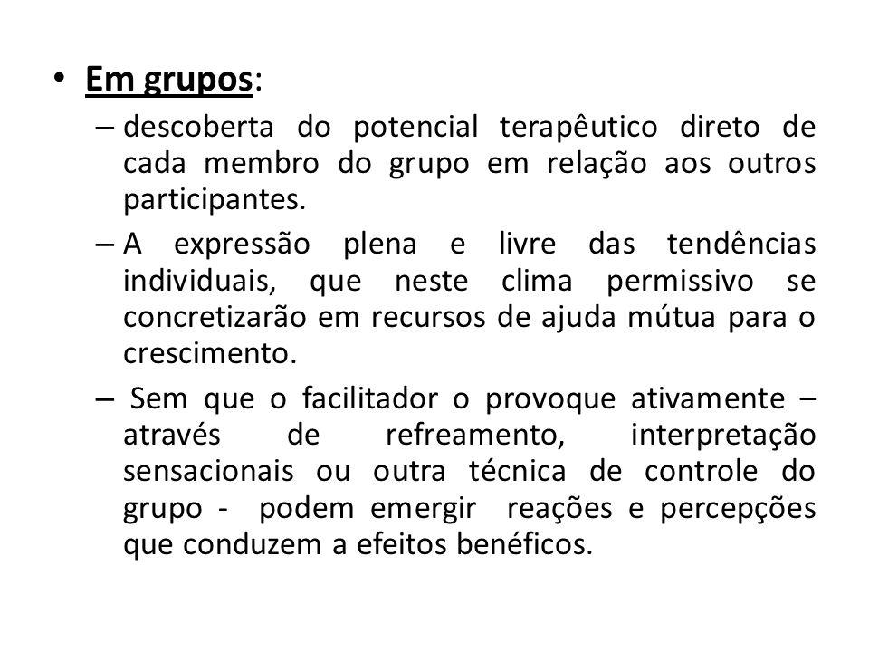 • Em grupos: – descoberta do potencial terapêutico direto de cada membro do grupo em relação aos outros participantes. – A expressão plena e livre das