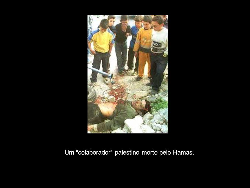 """Um """"colaborador"""" palestino morto pelo Hamas."""