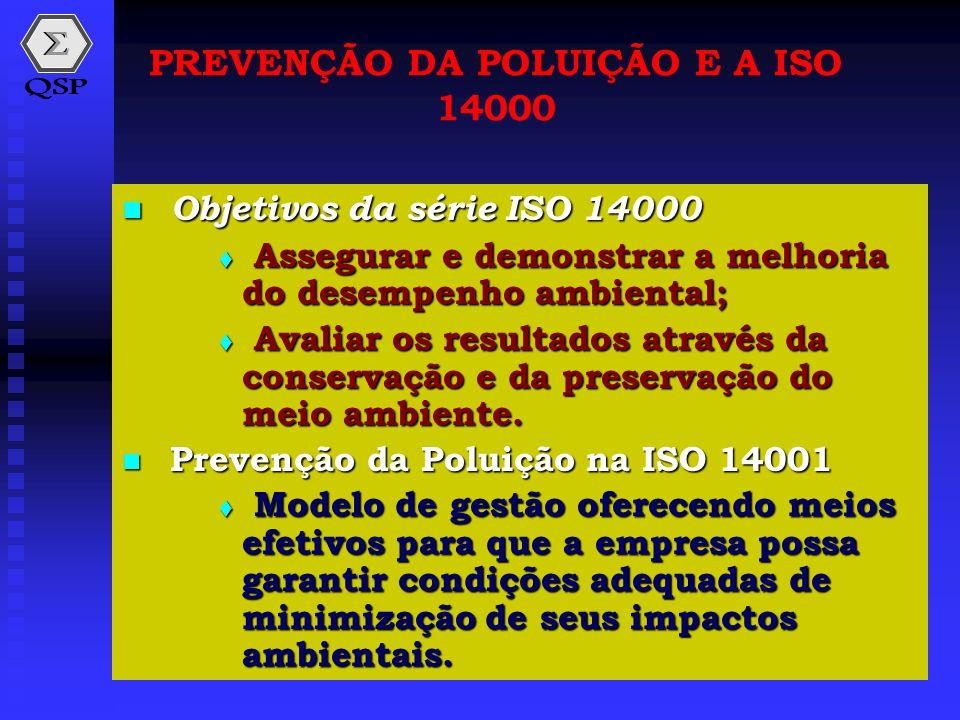  Objetivos da série ISO 14000  Assegurar e demonstrar a melhoria do desempenho ambiental;  Avaliar os resultados através da conservação e da preser