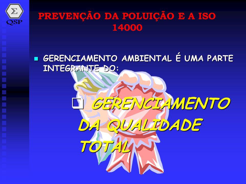  GERENCIAMENTO AMBIENTAL É UMA PARTE INTEGRANTE DO:  GERENCIAMENTO DA QUALIDADE TOTAL PREVENÇÃO DA POLUIÇÃO E A ISO 14000