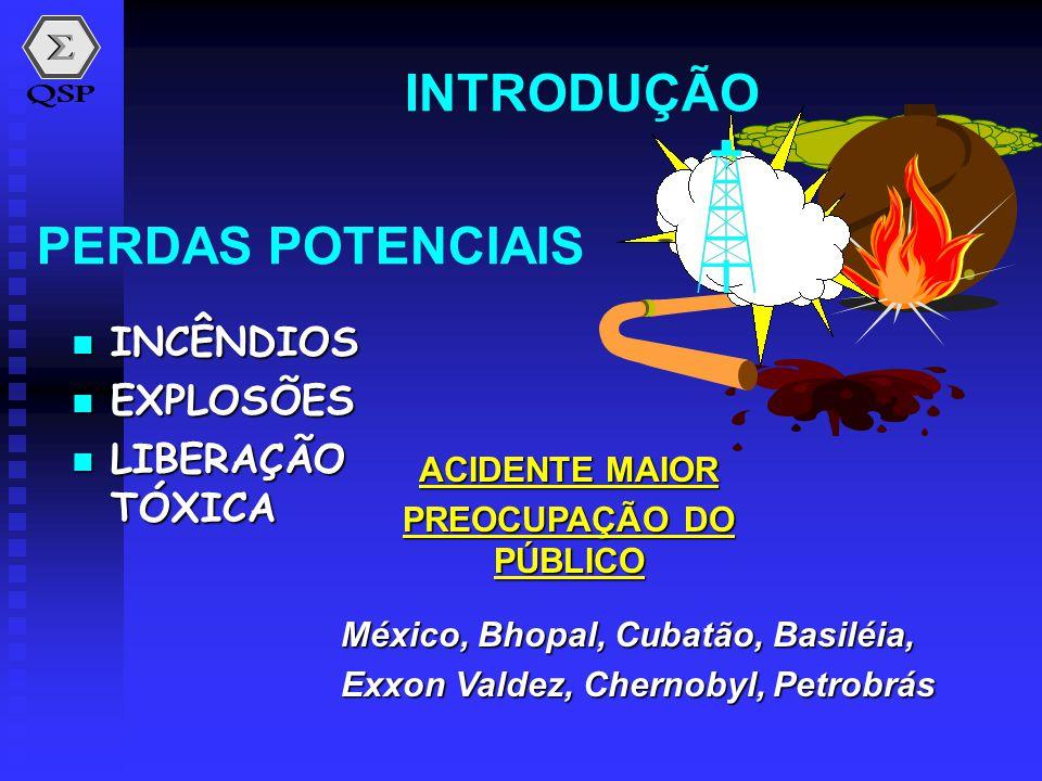 PERDAS POTENCIAIS  INCÊNDIOS  EXPLOSÕES  LIBERAÇÃO TÓXICA INTRODUÇÃO ACIDENTE MAIOR PREOCUPAÇÃO DO PÚBLICO México, Bhopal, Cubatão, Basiléia, Exxon