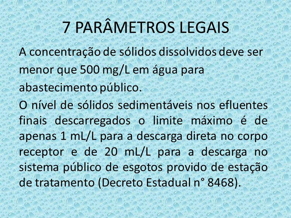 7 PARÂMETROS LEGAIS A concentração de sólidos dissolvidos deve ser menor que 500 mg/L em água para abastecimento público. O nível de sólidos sedimentá