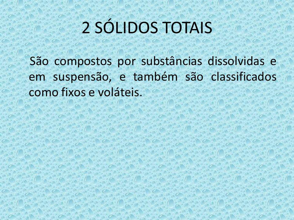 2 SÓLIDOS TOTAIS São compostos por substâncias dissolvidas e em suspensão, e também são classificados como fixos e voláteis.