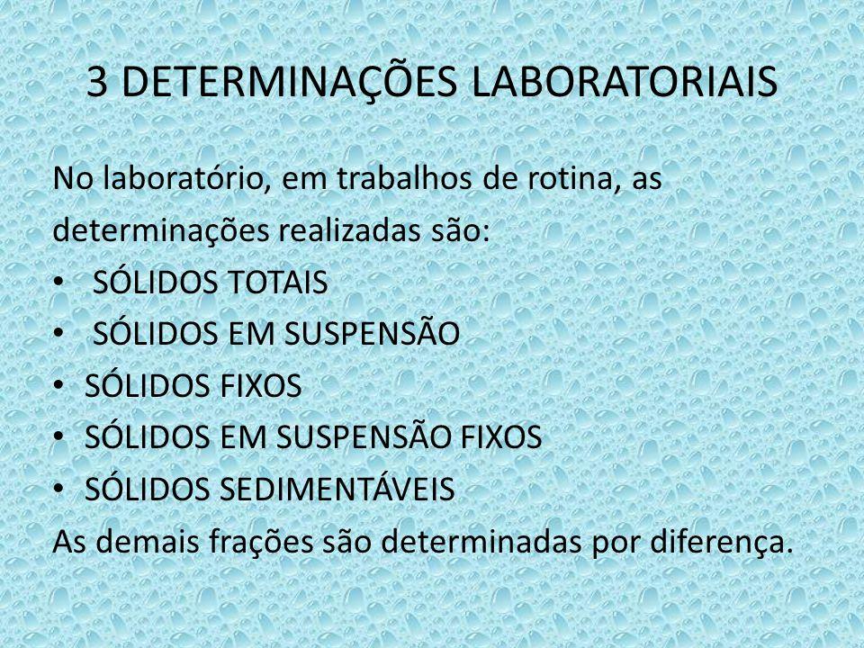 3 DETERMINAÇÕES LABORATORIAIS No laboratório, em trabalhos de rotina, as determinações realizadas são: • SÓLIDOS TOTAIS • SÓLIDOS EM SUSPENSÃO • SÓLID