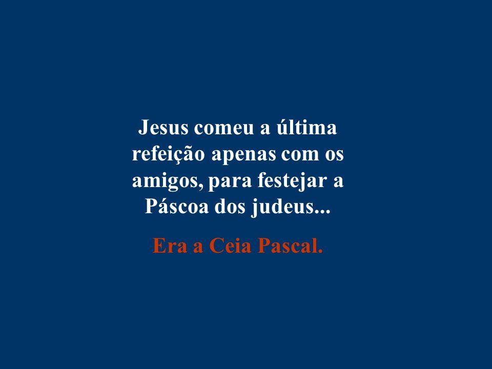 Jesus comeu a última refeição apenas com os amigos, para festejar a Páscoa dos judeus... Era a Ceia Pascal.