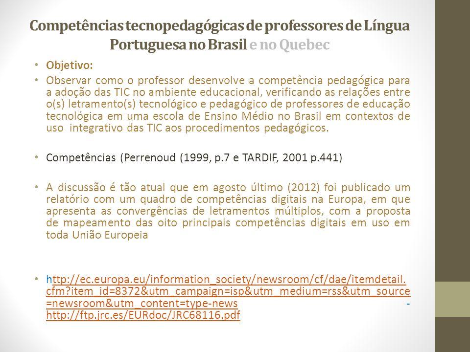 Competências tecnopedagógicas de professores de Língua Portuguesa no Brasil e no Quebec • Objetivo: • Observar como o professor desenvolve a competênc