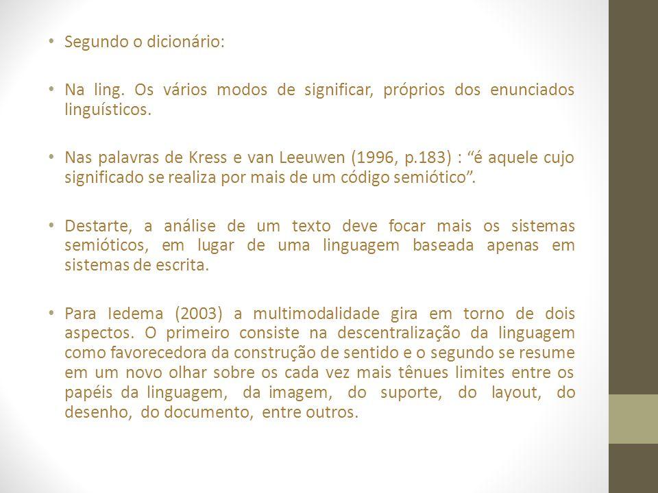 • Segundo o dicionário: • Na ling. Os vários modos de significar, próprios dos enunciados linguísticos. • Nas palavras de Kress e van Leeuwen (1996, p