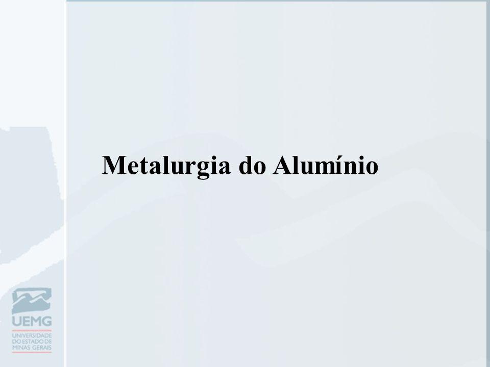 Generalidades  Metal mais jovem usado em escala industrial;  É extraído do mineral bauxita que contém de 50-60% de Al2O3 e ocorre associada ao Fe2O3 e SiO2.