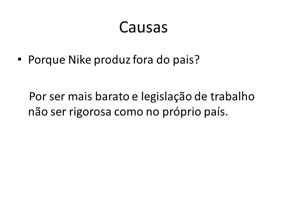 Causas • Porque Nike produz fora do pais? Por ser mais barato e legislação de trabalho não ser rigorosa como no próprio país.