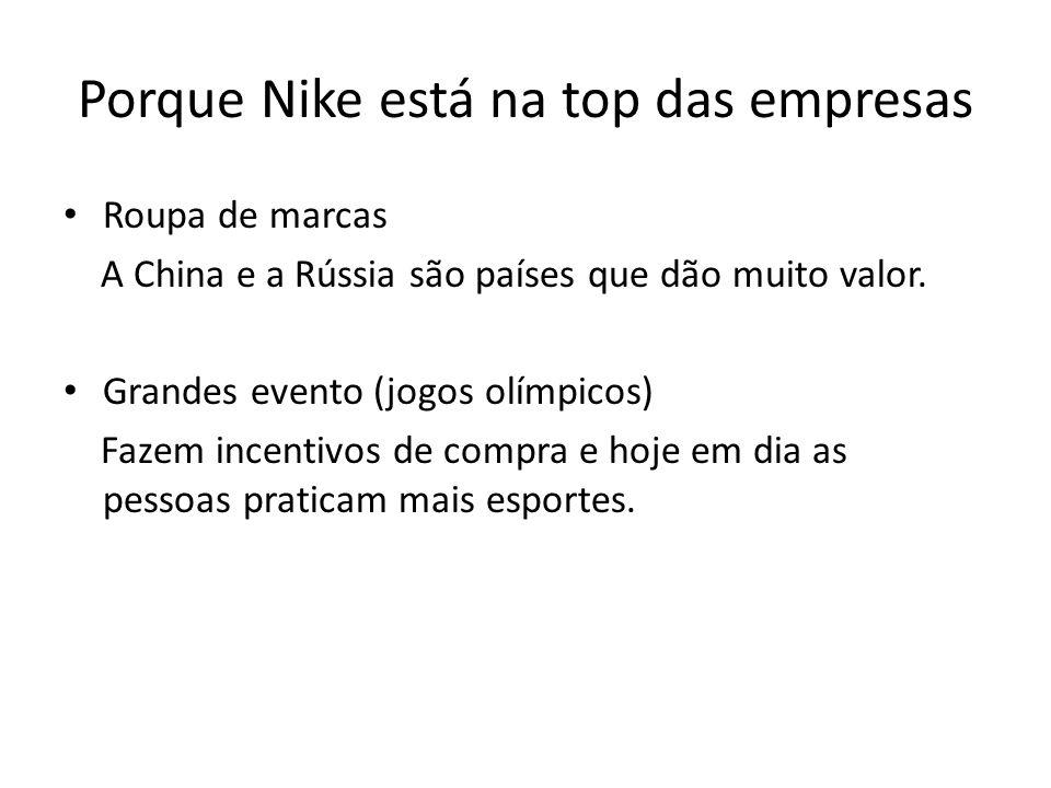 Porque Nike está na top das empresas • Roupa de marcas A China e a Rússia são países que dão muito valor. • Grandes evento (jogos olímpicos) Fazem inc