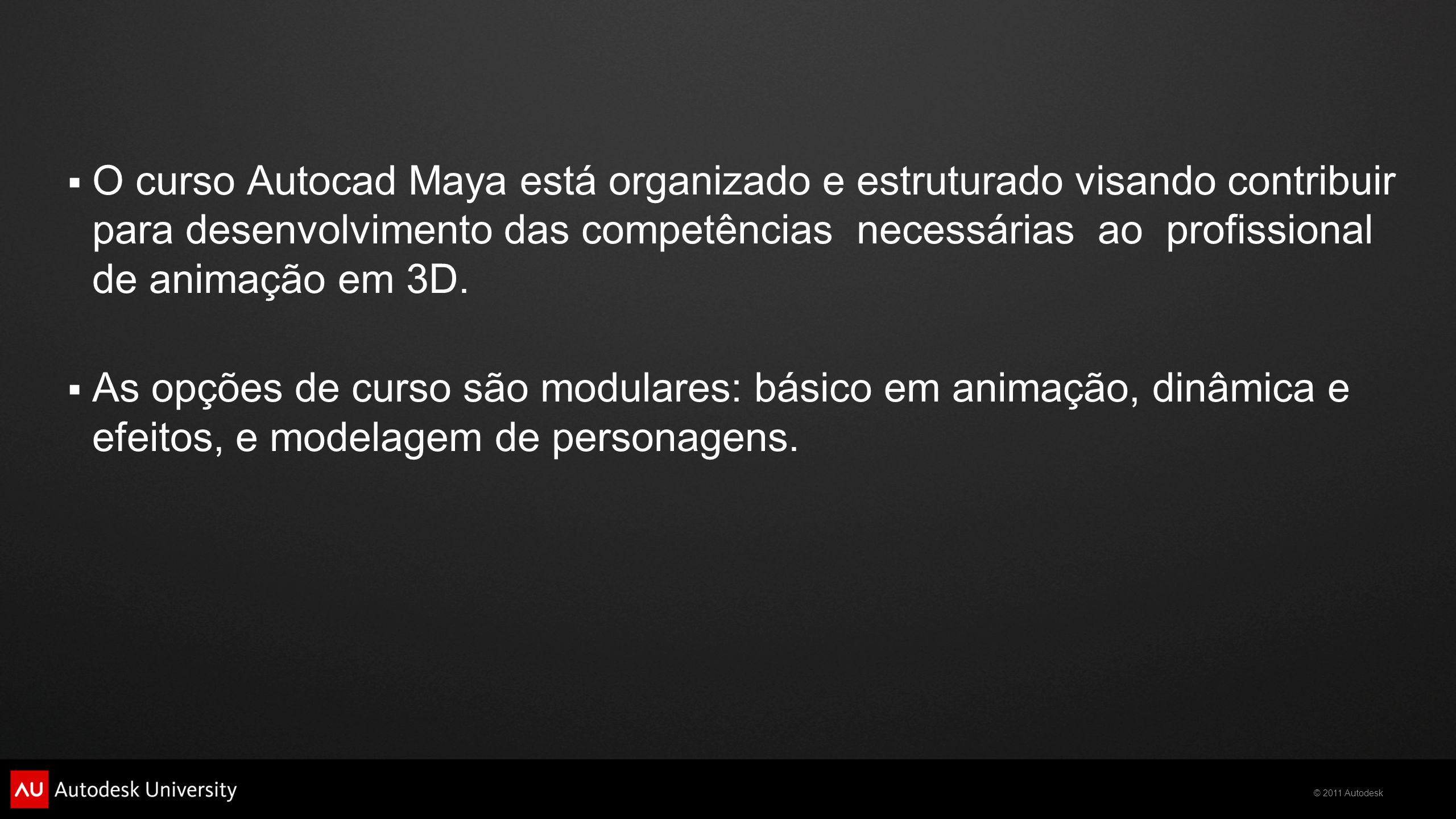  O curso Autocad Maya está organizado e estruturado visando contribuir para desenvolvimento das competências necessárias ao profissional de animação