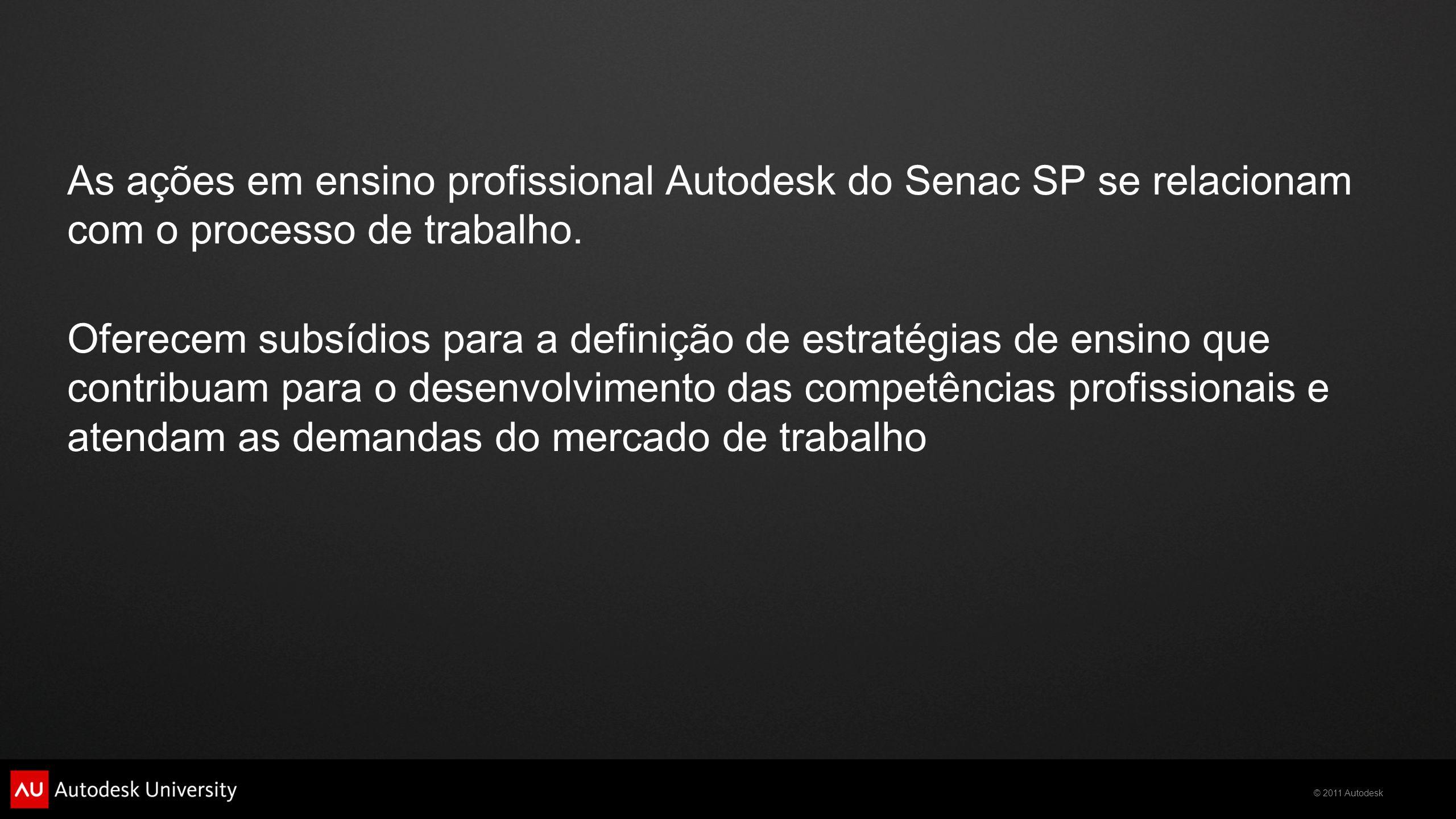 © 2011 Autodesk As ações em ensino profissional Autodesk do Senac SP se relacionam com o processo de trabalho. Oferecem subsídios para a definição de