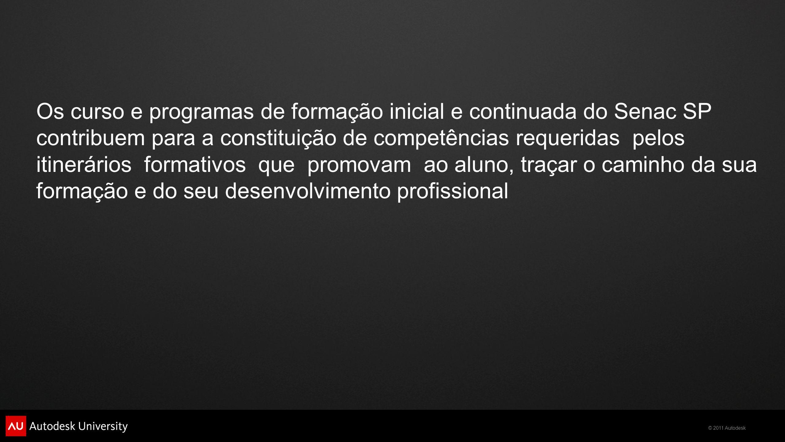 © 2011 Autodesk Os curso e programas de formação inicial e continuada do Senac SP contribuem para a constituição de competências requeridas pelos itin