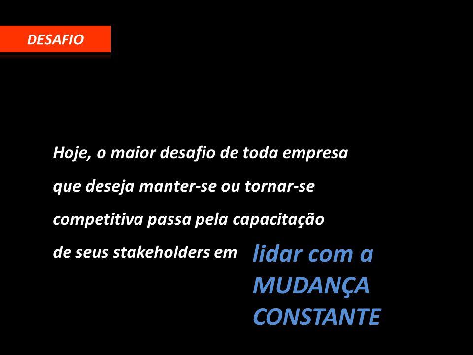 Hoje, o maior desafio de toda empresa que deseja manter-se ou tornar-se competitiva passa pela capacitação de seus stakeholders em lidar com a MUDANÇA