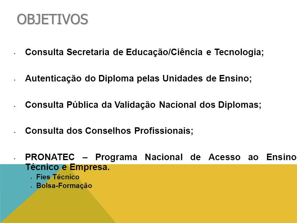 OBJETIVOS • Consulta Secretaria de Educação/Ciência e Tecnologia; • Autenticação do Diploma pelas Unidades de Ensino; • Consulta Pública da Validação