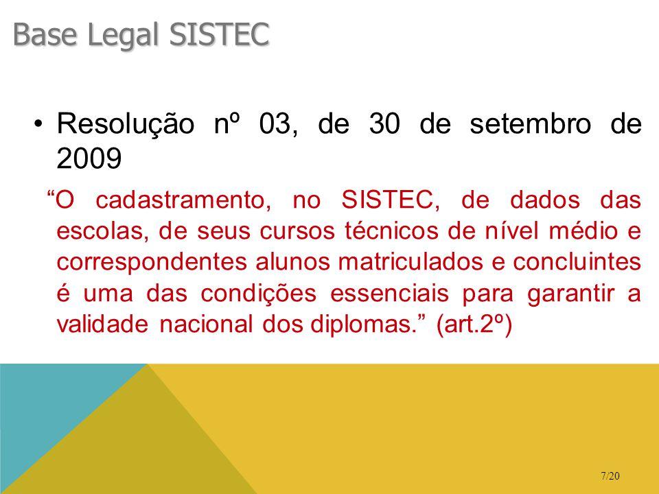 """7/20 Base Legal SISTEC •Resolução nº 03, de 30 de setembro de 2009 """"O cadastramento, no SISTEC, de dados das escolas, de seus cursos técnicos de nível"""