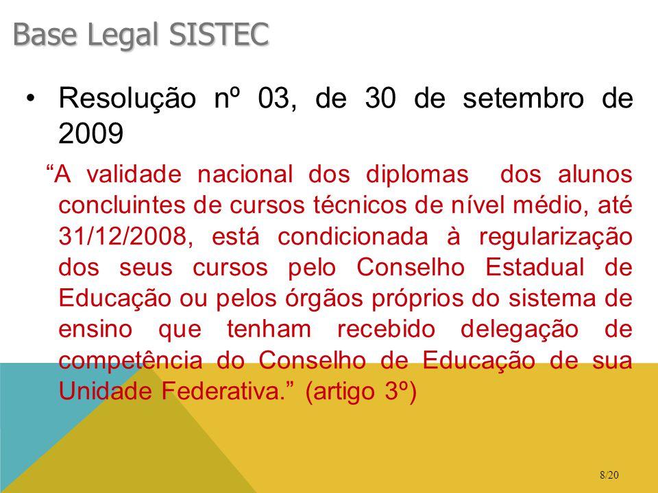 """8/20 Base Legal SISTEC •Resolução nº 03, de 30 de setembro de 2009 """"A validade nacional dos diplomas dos alunos concluintes de cursos técnicos de níve"""