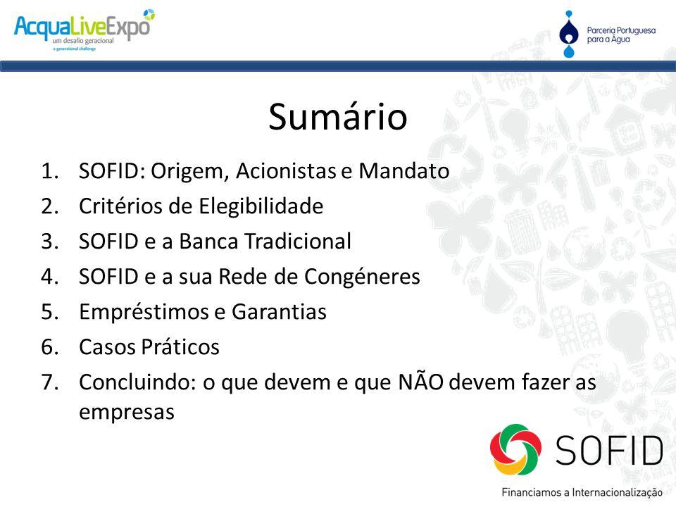 Sumário 1.SOFID: Origem, Acionistas e Mandato 2.Critérios de Elegibilidade 3.SOFID e a Banca Tradicional 4.SOFID e a sua Rede de Congéneres 5.Emprésti