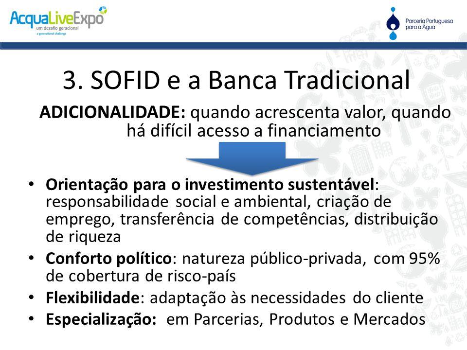 3. SOFID e a Banca Tradicional ADICIONALIDADE: quando acrescenta valor, quando há difícil acesso a financiamento • Orientação para o investimento sust