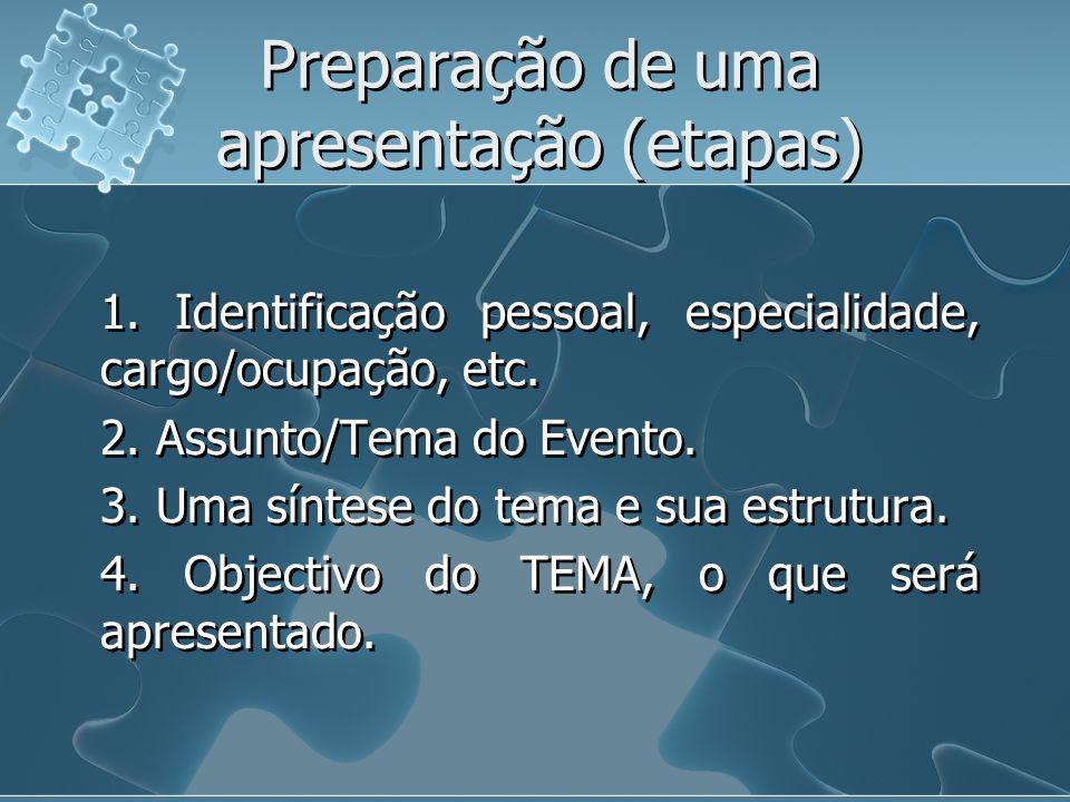 Preparação de uma apresentação (etapas) 1.