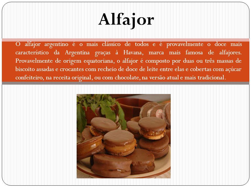 Alfajor O alfajor argentino é o mais clássico de todos e é provavelmente o doce mais característico da Argentina graças à Havana, marca mais famosa de
