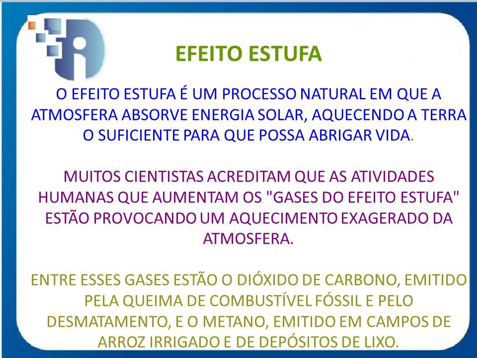 EFEITO ESTUFA O EFEITO ESTUFA É UM PROCESSO NATURAL EM QUE A ATMOSFERA ABSORVE ENERGIA SOLAR, AQUECENDO A TERRA O SUFICIENTE PARA QUE POSSA ABRIGAR VI