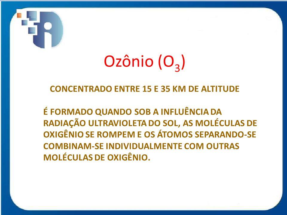 Ozônio (O 3 ) CONCENTRADO ENTRE 15 E 35 KM DE ALTITUDE É FORMADO QUANDO SOB A INFLUÊNCIA DA RADIAÇÃO ULTRAVIOLETA DO SOL, AS MOLÉCULAS DE OXIGÊNIO SE