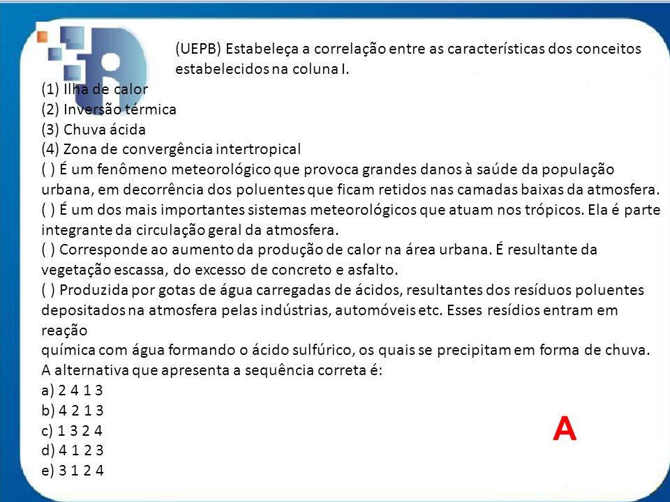 (UEPB) Estabeleça a correlação entre as características dos conceitos estabelecidos na coluna I. (1) Ilha de calor (2) Inversão térmica (3) Chuva ácid