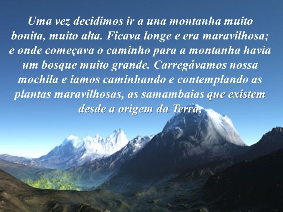 que existem desde a origem da Terra, Uma vez decidimos ir a una montanha muito bonita, muito alta.