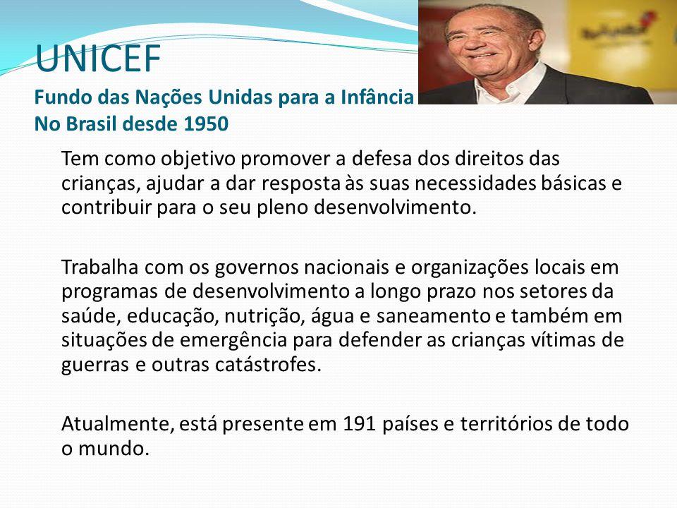 UNICEF Fundo das Nações Unidas para a Infância No Brasil desde 1950 Tem como objetivo promover a defesa dos direitos das crianças, ajudar a dar respos