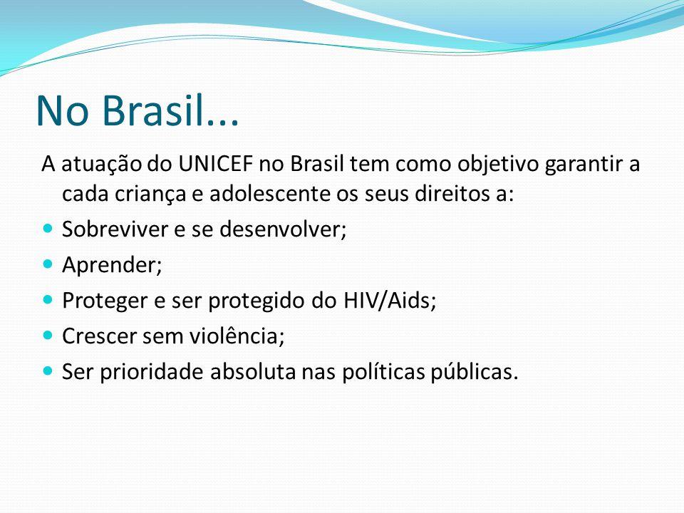 No Brasil... A atuação do UNICEF no Brasil tem como objetivo garantir a cada criança e adolescente os seus direitos a:  Sobreviver e se desenvolver;