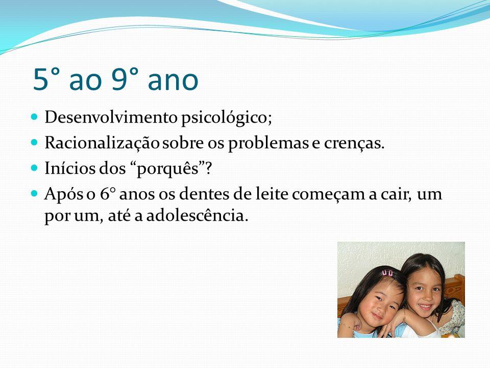 """ Desenvolvimento psicológico;  Racionalização sobre os problemas e crenças.  Inícios dos """"porquês""""?  Após o 6° anos os dentes de leite começam a c"""